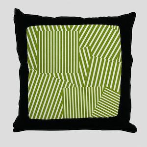 Drab Green Spring Stripe Throw Pillow