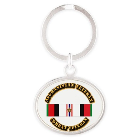 Afhganistan Veteran w Campaign Star Oval Keychain