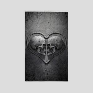 Gothic Skull Heart Area Rug