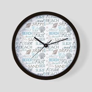 Beach Typography Wall Clock