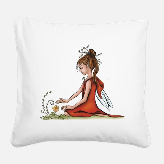 woodland fairy admires a rose Square Canvas Pillow