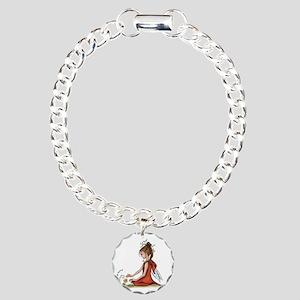 woodland fairy admires a Charm Bracelet, One Charm