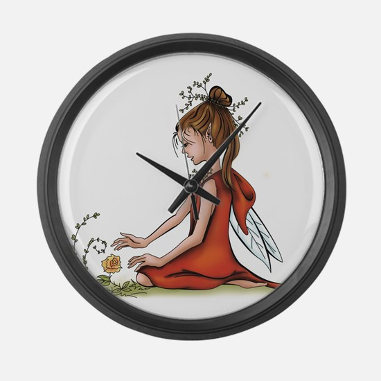 woodland fairy admires a rose Large Wall Clock