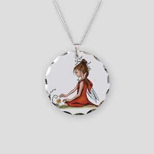 woodland fairy admires a ros Necklace Circle Charm