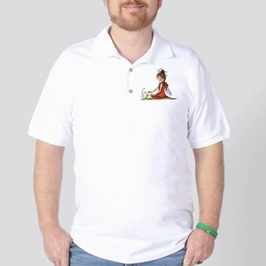 woodland fairy admires a rose Golf Shirt
