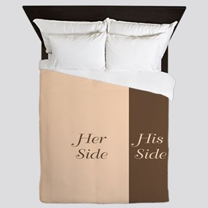 Beige Brown Her Side / His Side Queen Duvet