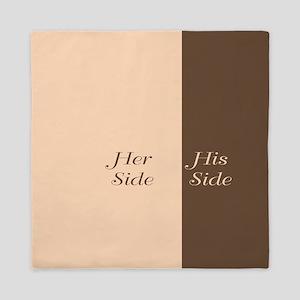 Beige Brown Her Side / His Side Queen Duvet