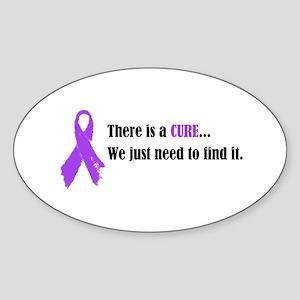 Purple Ribbon Oval Sticker