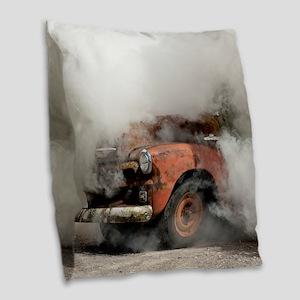 Burnout Pit Burlap Throw Pillow