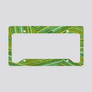 Washed Styled Green Striped License Plate Holder