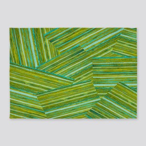 Washed Styled Green Striped 5'x7'Area Rug