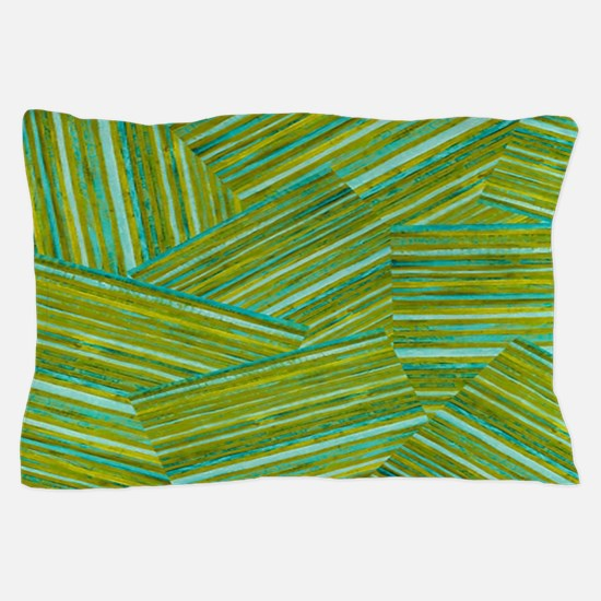 Washed Styled Green Striped Pillow Case
