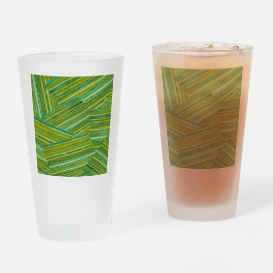 Washed Styled Green Striped Drinking Glass