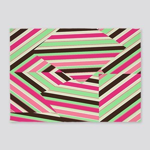 Girly Green and Pink Style 5'x7'Area Rug