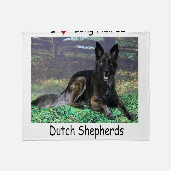 Long Hair Dutch Shepherd Throw Blanket