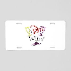 I Heart Wine Thumbnail Aluminum License Plate