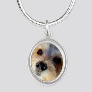 Morkie Love Silver Oval Necklace