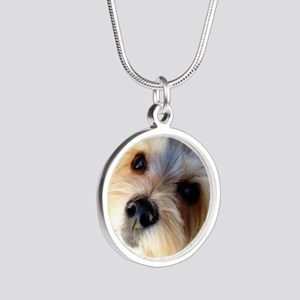 Morkie Love Silver Round Necklace