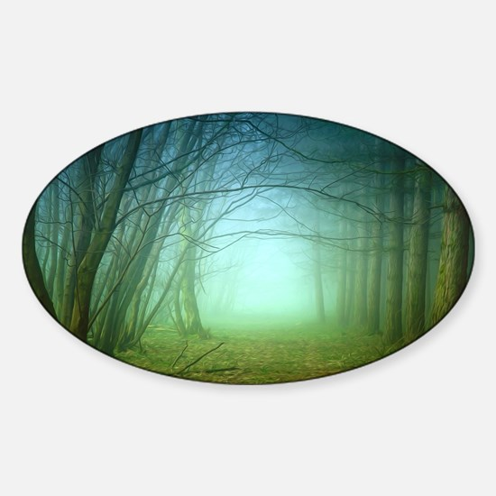 A Forest With Fog Sticker (Oval)