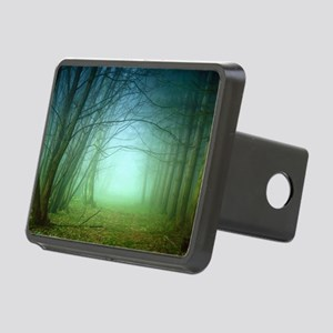 A Forest With Fog Rectangular Hitch Cover