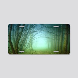 A Forest With Fog Aluminum License Plate