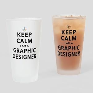 Keep Calm Graphic Designer Drinking Glass