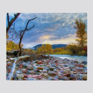 A River With Stones  Throw Blanket