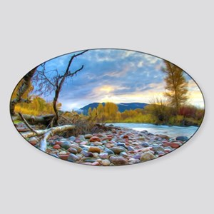 A River With Stones  Sticker (Oval)
