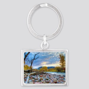 A River With Stones  Landscape Keychain