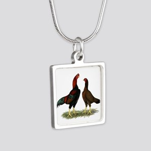 Aseel Black Red Chickens Silver Square Necklace