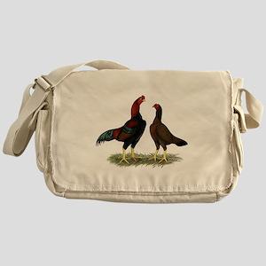 Aseel Black Red Chickens Messenger Bag
