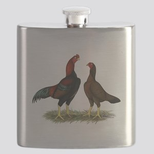 Aseel Black Red Chickens Flask