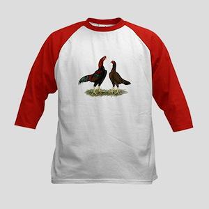Aseel Black Red Chickens Kids Baseball Jersey