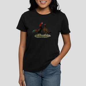 Aseel Black Red Chickens Women's Dark T-Shirt