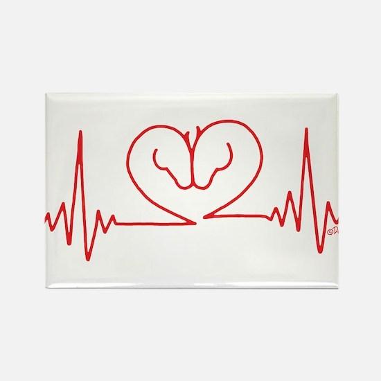 Horses Love Heartbeats Heart Rectangle Magnet