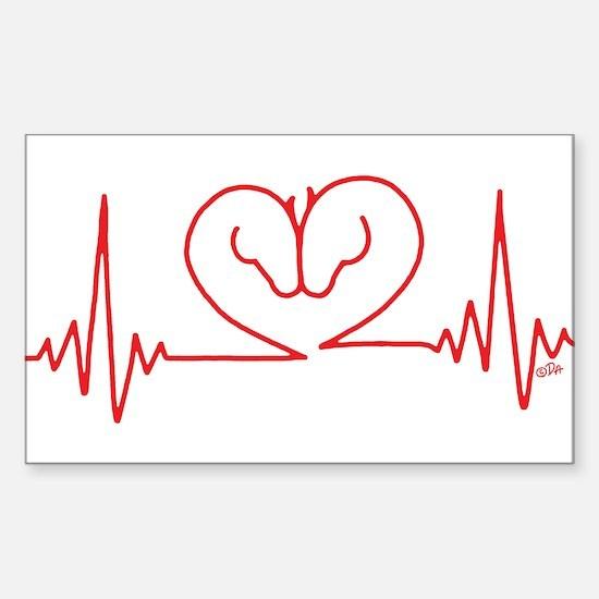 Horses Love Heartbeats Heart Sticker (Rectangle)