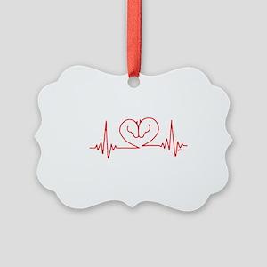 Horses Love Heartbeats Heart Picture Ornament