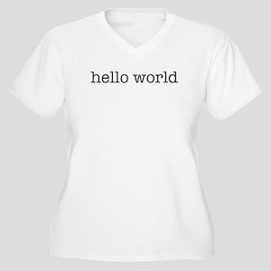 Hello World Women's Plus Size V-Neck T-Shirt