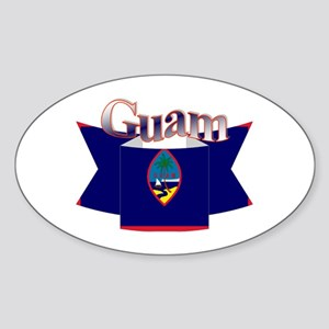 Flag of Guam ribbon Oval Sticker