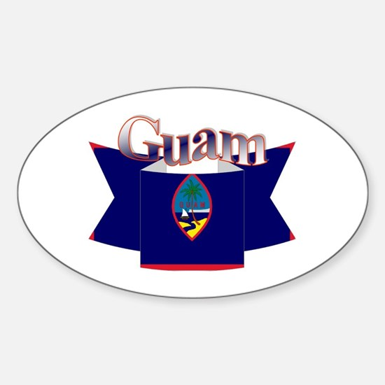 Flag of Guam ribbon Oval Decal
