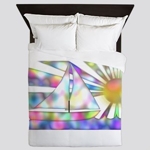 Rainbow Sailboat Queen Duvet