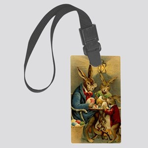 Easter rabbits painting eggs 2 Large Luggage Tag