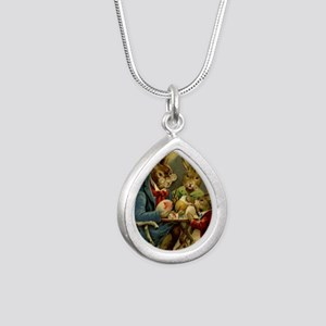 Easter rabbits painting  Silver Teardrop Necklace