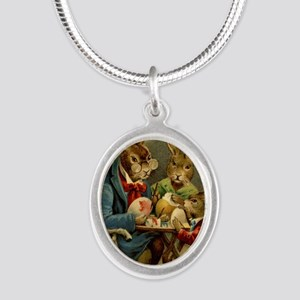 Easter rabbits painting eggs  Silver Oval Necklace
