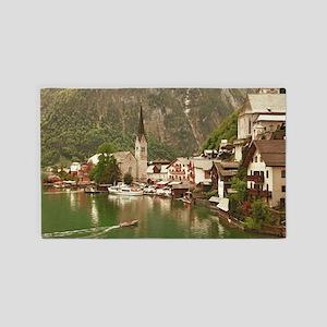 Austrian lakeside village of Hallst 3'x5' Area Rug