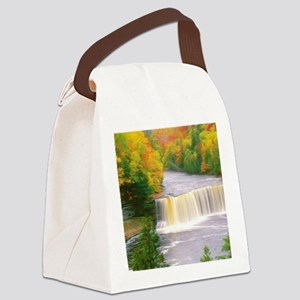 Autumn creek woods with yellow tr Canvas Lunch Bag