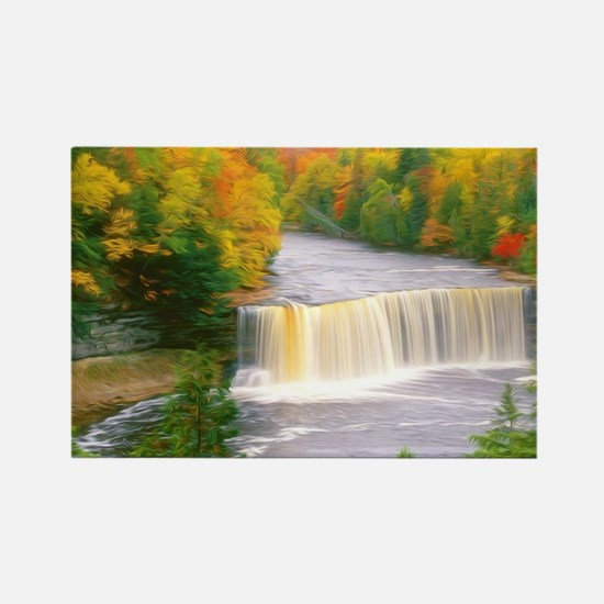 Autumn creek woods with yellow tr Rectangle Magnet