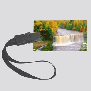 Autumn creek woods with yellow t Large Luggage Tag