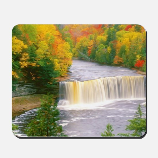 Autumn creek woods with yellow trees fol Mousepad