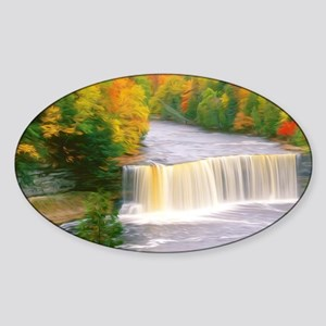 Autumn creek woods with yellow tree Sticker (Oval)
